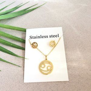 NEW Cancer Sign Stainless Steel Necklace Earring